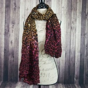 Accessories - Cheetah print ombre brown & red scarf